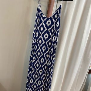 Macbeth Collection Maxi Dress - blue and white